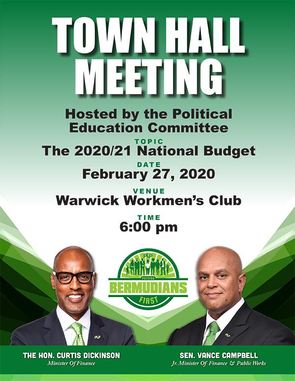 Budget Town Hall Bermuda Feb 2020