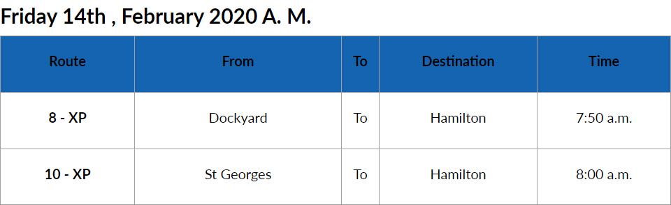 Bus Cancellations AM Bermuda Feb 14 2020