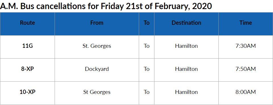 Bus Cancellations AM Bermuda Feb 21 2020