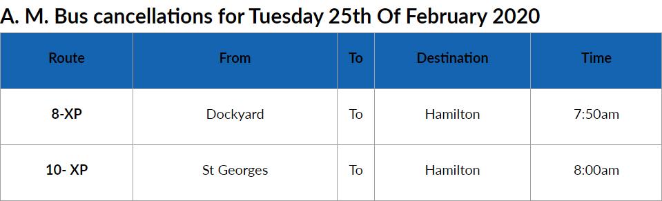 Bus Cancellations AM Bermuda Feb 25 2020