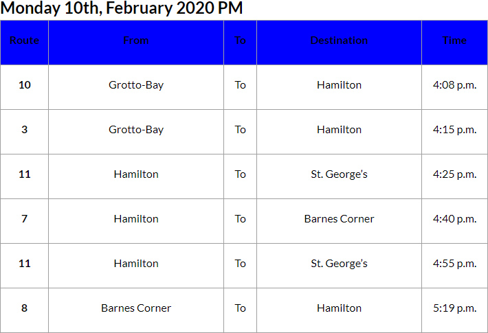 Bus Cancellations PM Bermuda Feb 10 2020
