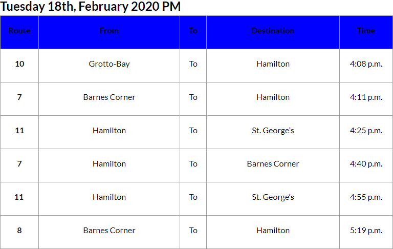 Bus Cancellations PM Bermuda Feb 18 2020