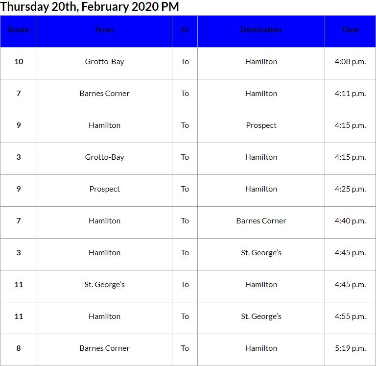 Bus Cancellations PM Bermuda Feb 20 2020