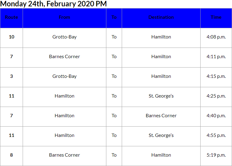 Bus Cancellations PM Bermuda Feb 24 2020