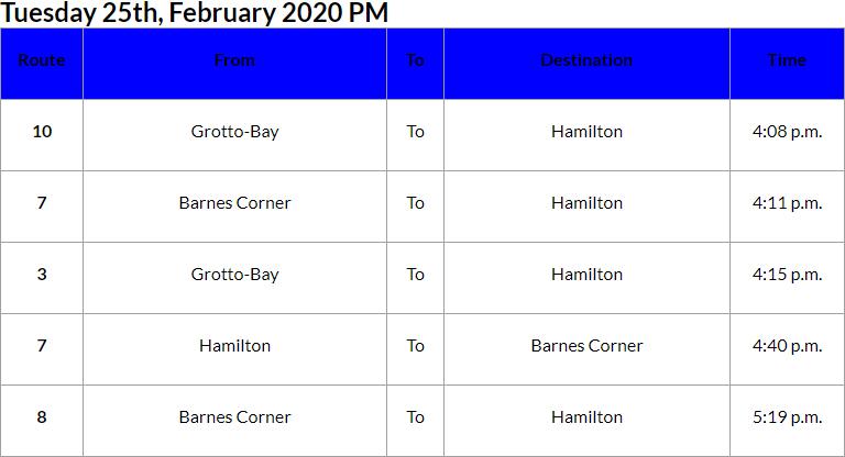 Bus Cancellations PM Bermuda Feb 25 2020