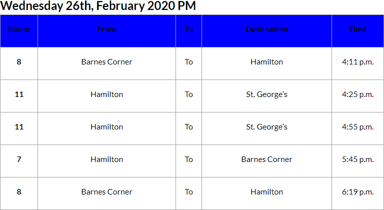 Bus Cancellations PM Bermuda Feb 26 2020