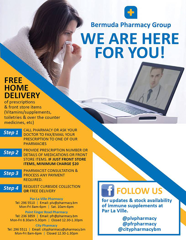Bermuda Pharmacy Group Free Home Delivery March 2020