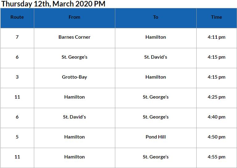 Bus Cancellations PM Bermuda March 12 2020