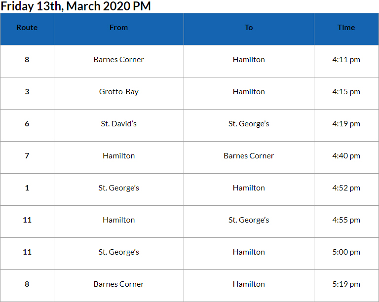 Bus Cancellations PM Bermuda March 13 2020