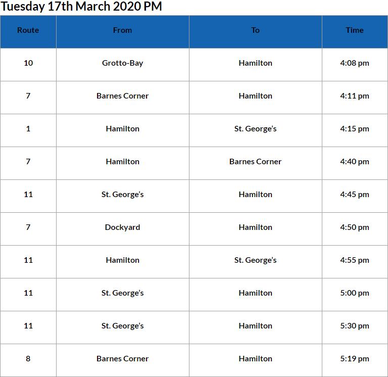 Bus Cancellations PM Bermuda March 17 2020