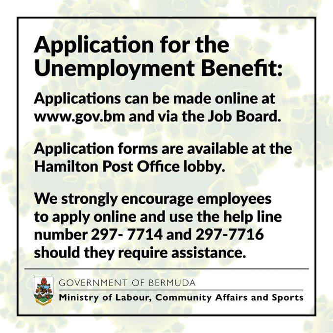 Covid19 Unemployment Benefit application Bermuda March 2020
