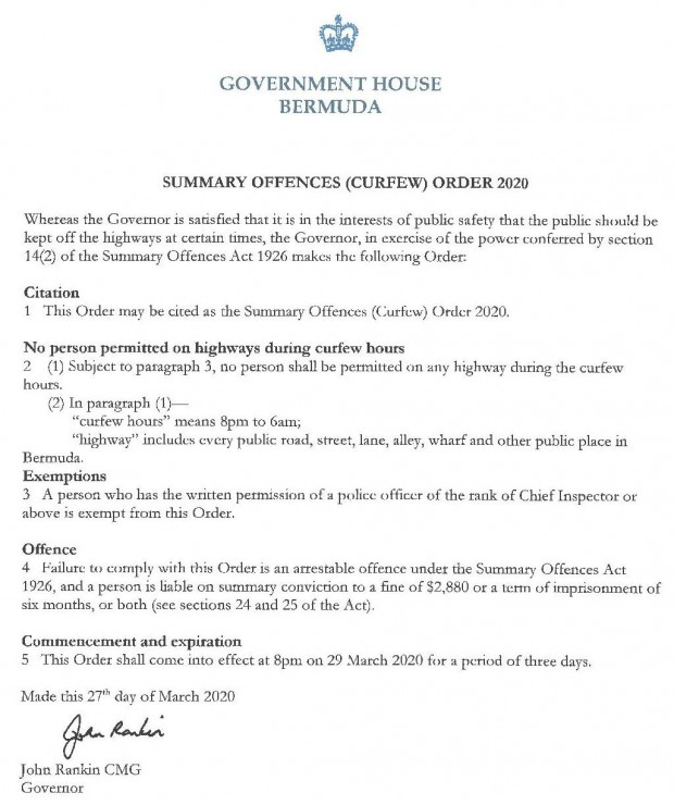 Governor order March 29 2020 curfew