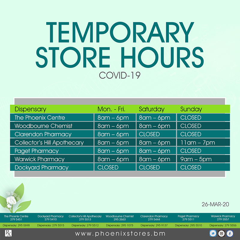 Phoenix Store Hours Bermuda March 2020
