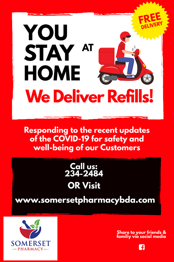 Somerset Pharmacy Delivery Bermuda March 2020