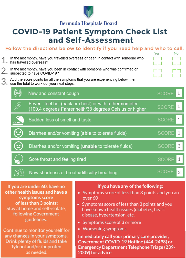 COVID-19-Checklist-and-SelfAssessment Bermuda April 1 2020