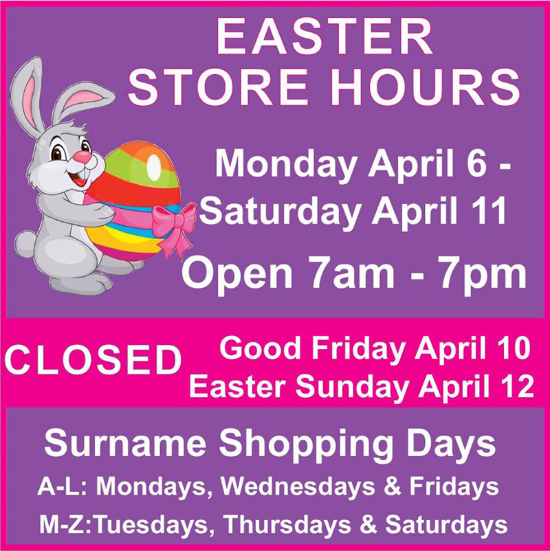 MarketPlace Easter Store Hours