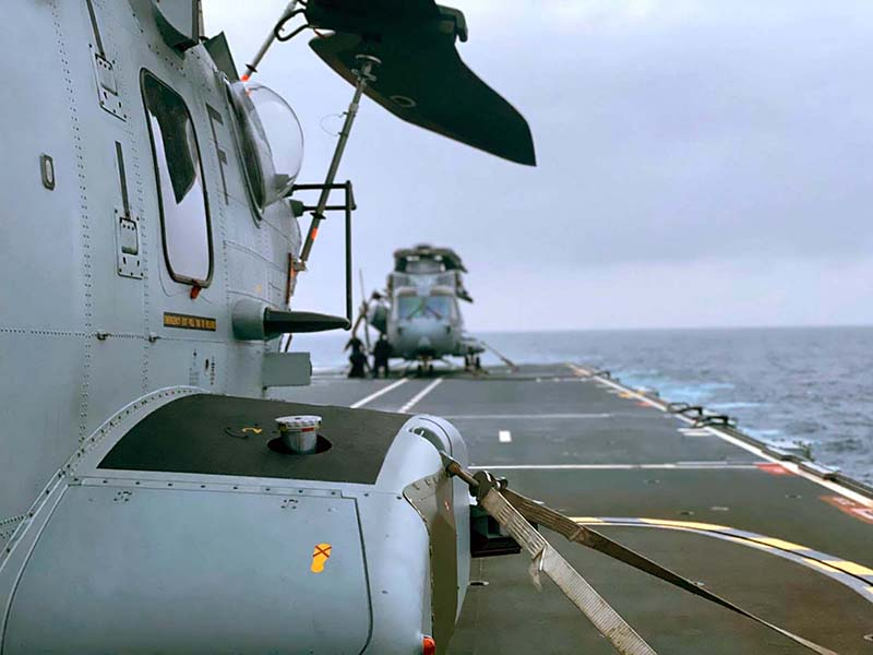 Wildcat and Commando Merlin helicopters carry out recce sorties over Bermuda