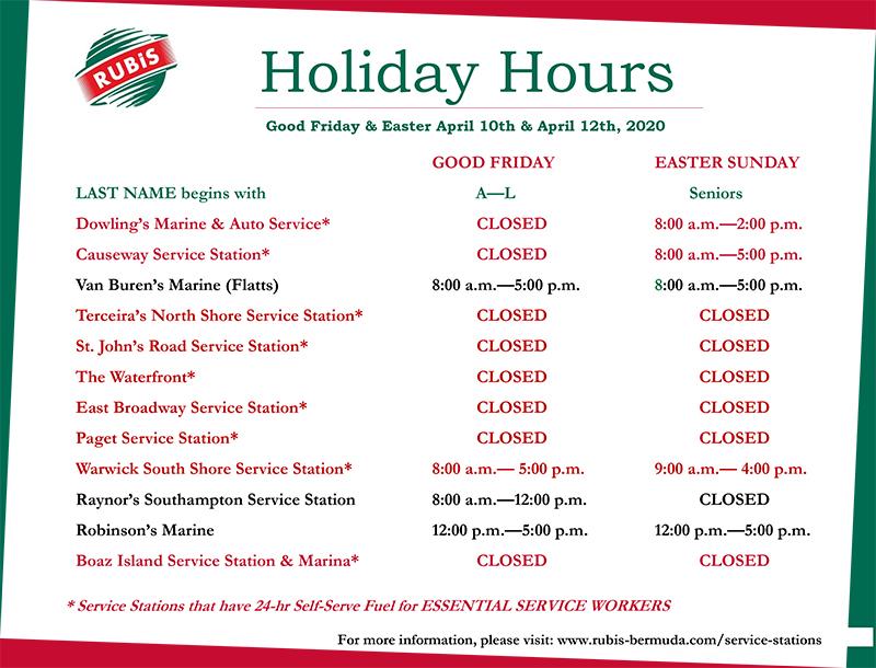 Rubis Retail Holiday Operating Hours Bermuda April 2020