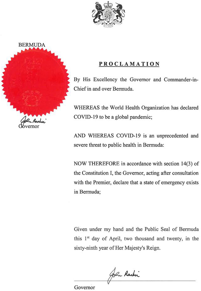 State Of Emergency Official Proclamation Bermuda April 2020