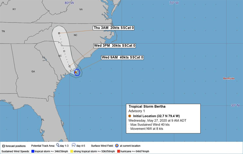 Tropical Storm Bertha forms near SC coast