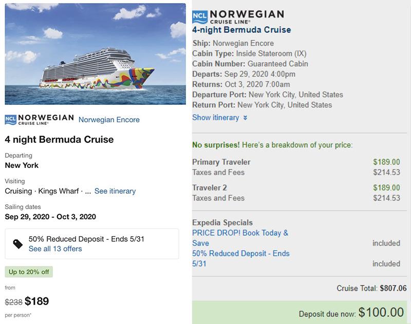 Norwegian Cruise Line Price Bermuda May 2020