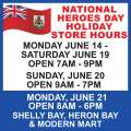 MarketPlace National Heroes Day Holiday Hours