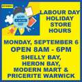 MarketPlace Labour Day Holiday Store Hours