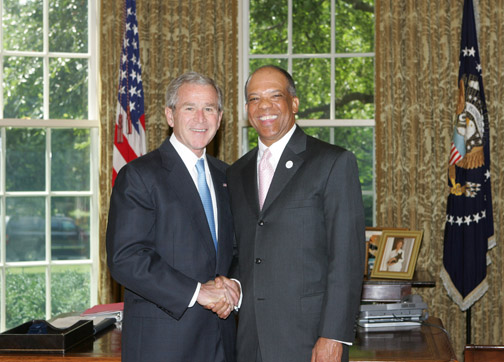 Dr. Brown at the White House with former President George Bush