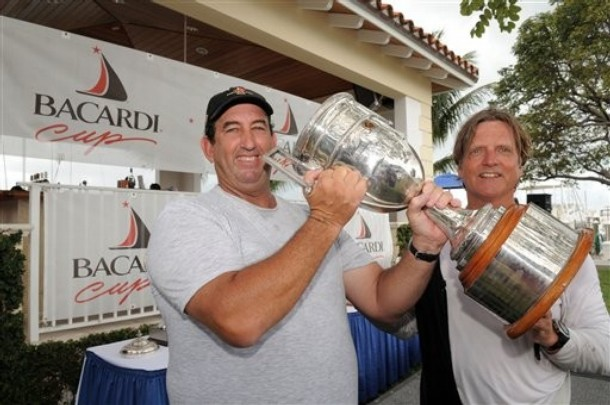 Peter Bromby, left, and crew Magnus Liljedahl celebrate their victory Bacardi Cup star class regatta, Friday, March 13, 2009, off Miami. Photo credit: AP Photo/Bacardi Cup
