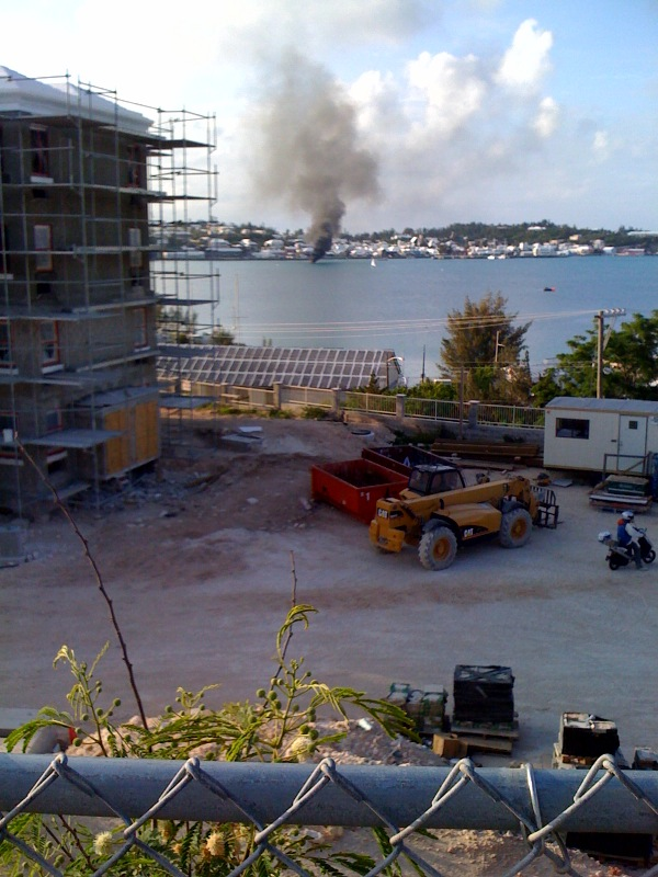 boat on fire in st georges