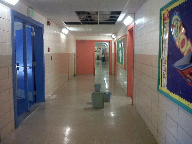 A hallway at Clearwater School yesterday