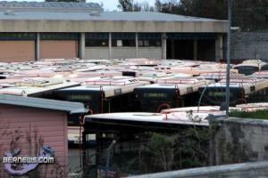 bus buses depot filled