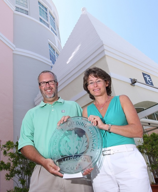 Colin Brown and Samantha Froud with LEED Gold award v2