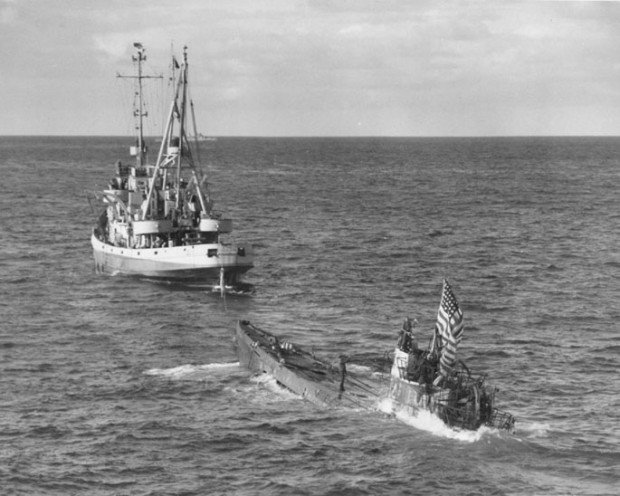 U-505 sub taken in tow after being captured in 1944