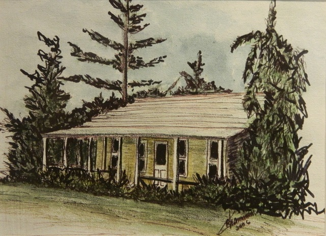 Blue Hole House Ronnie Chameau InkWatercolour