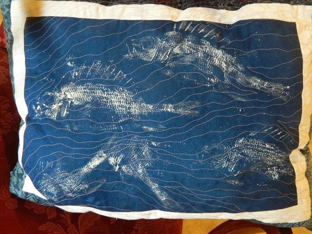 Red Squirrel Fish Pillow Kathryn Garcia Gyotaku
