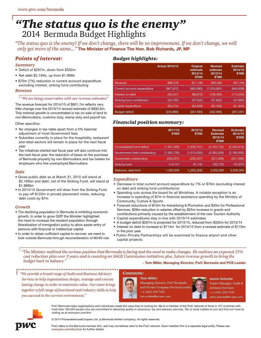 PwC Bermuda Budget Highlights
