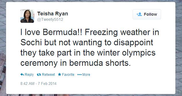 Twitter   Tweety5512  I love Bermuda   Freezing weather ...