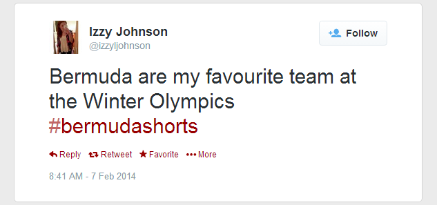 Twitter   izzyljohnson  Bermuda are my favourite team ...