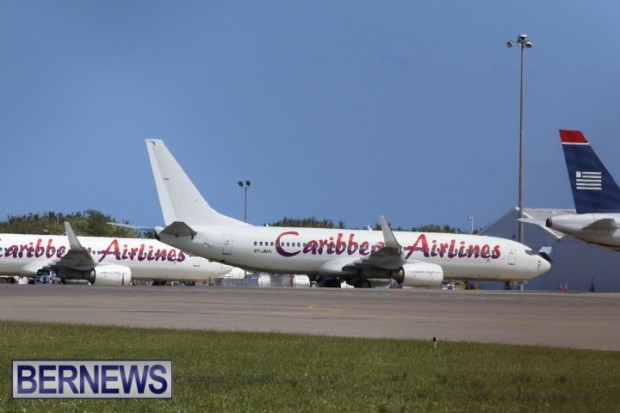 Caribbean airlines flight in Bermuda