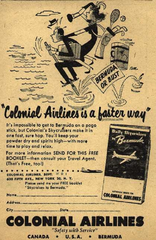 colonial airlines 1949 pogo ad