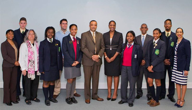 Minister Scott with students and rep insurance industry