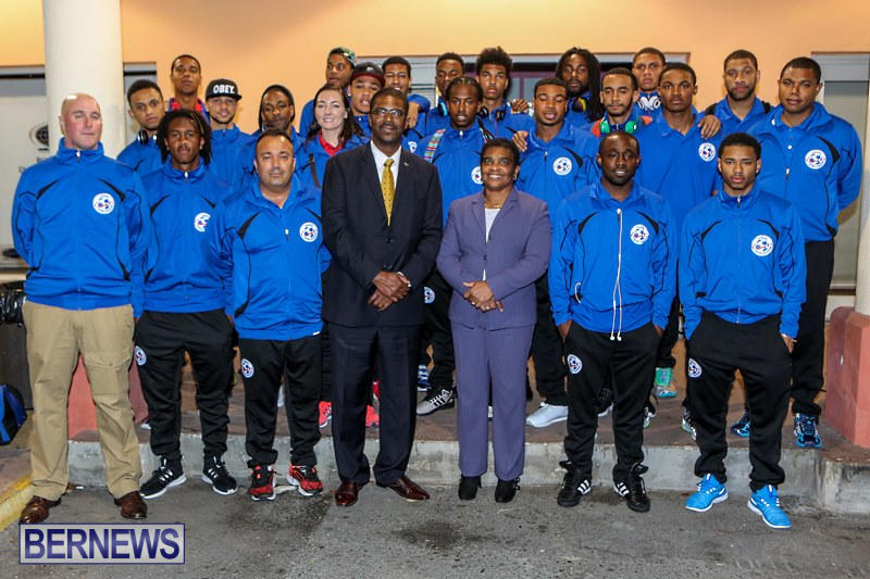 Bermuda Football Team at Airport, March 26 2015-1