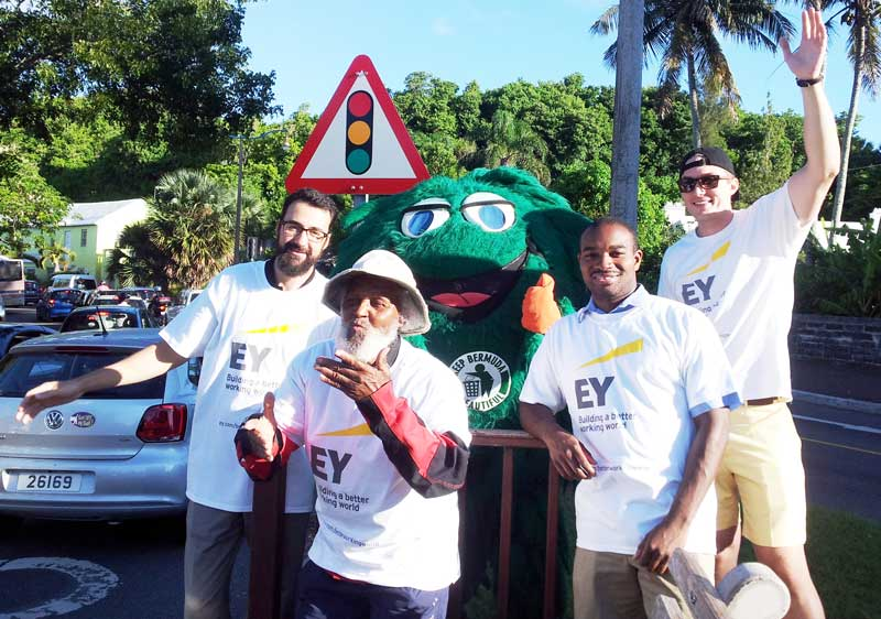 EY Bermuda Coastal Cleanup -Waving with Johnny Barnes