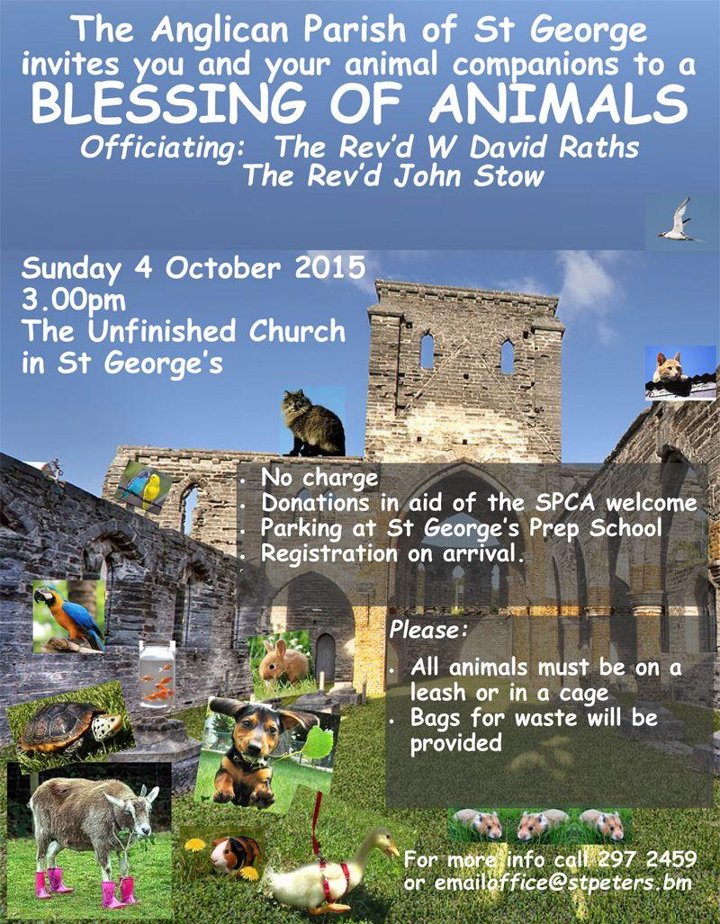Poster animal blessing 4 Oct 2015 Bermuda