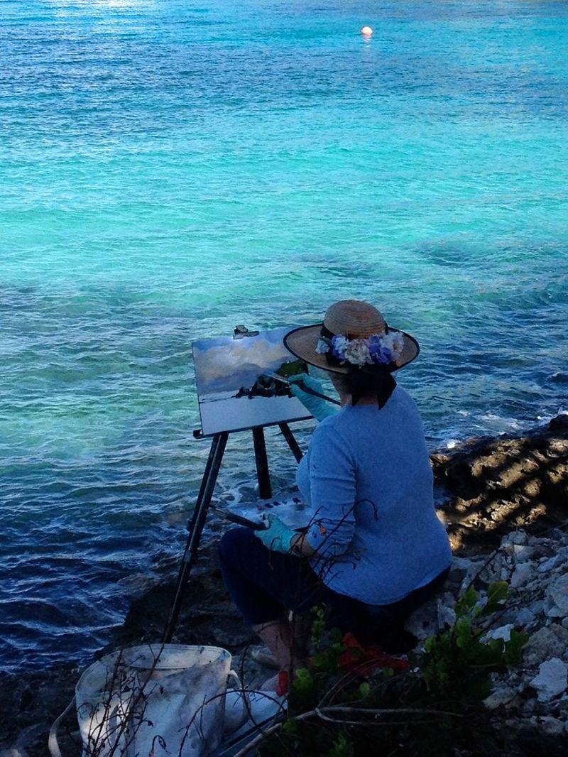 Rhona Painting Plein Air exhibition Bermuda September 2015 3