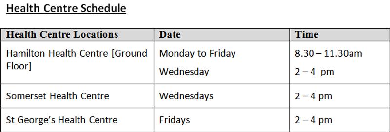 health centre schedule