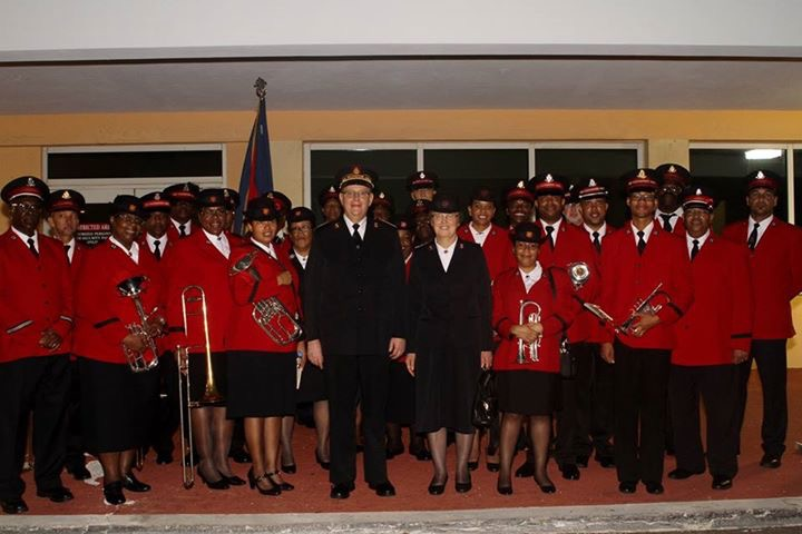 General Andre Cox Commissioner Silvia Cox and the Bermuda Divisional Band at airport