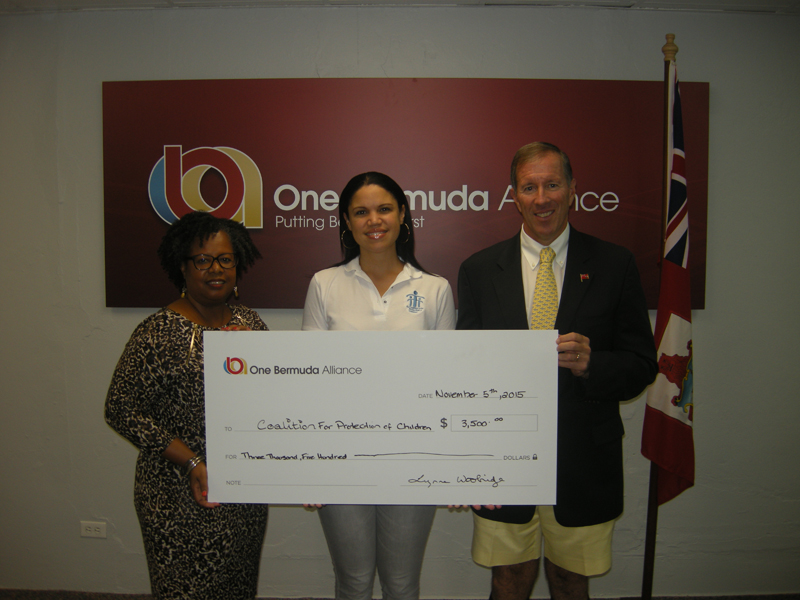 OBA Donation to Coalition Bermuda Nov 2015