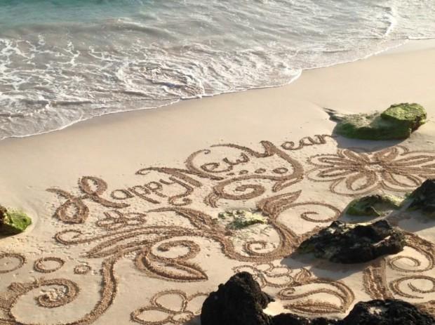 Bermuda Beach Art Happy New Year 2